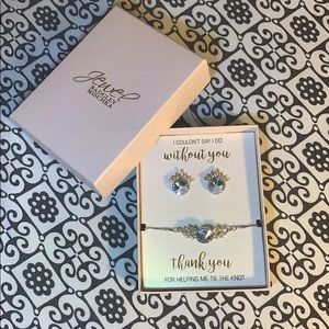 Badgley Mischka Jewelry - Bracelet and earring set. Light blue and silver